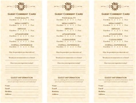 Comment Card Template Hotel by Comment Card Marketing Archive