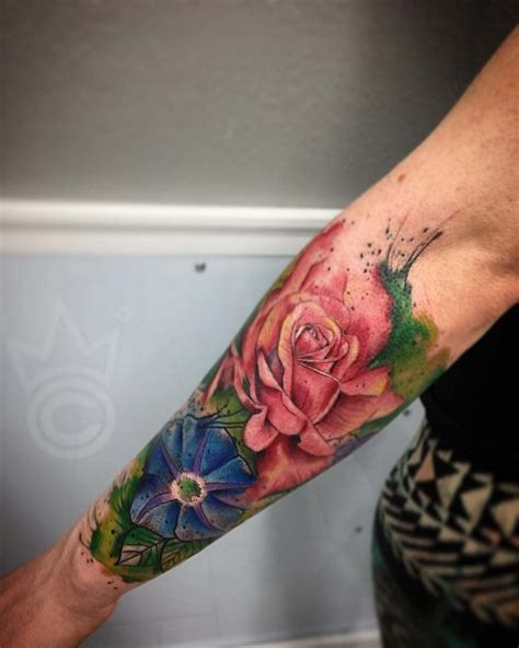 quarter sleeve watercolor tattoo flower half sleeve best ideas gallery