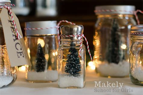 What To Put In Kitchen Canisters cheap and easy diy christmas tree repurposed jar snow globes