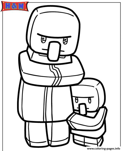 villager coloring page minecraft villager and kid coloring pages printable