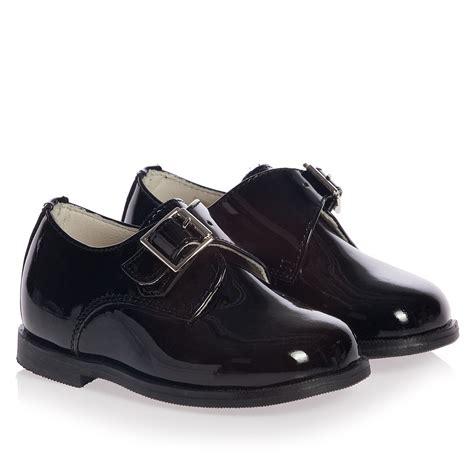 boys black patent leather occasion buckle shoes children