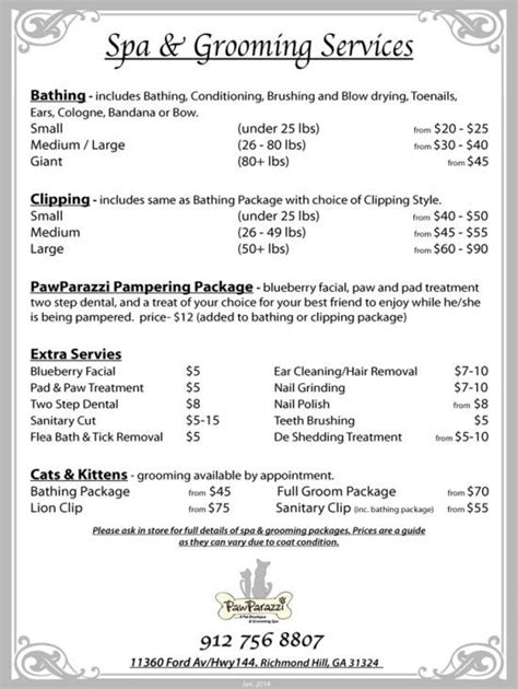 Grooming Price List Pet Grooming Pawparazzi Pet Boutique Richmond Hill Ga 31324 Grooming Price List Template
