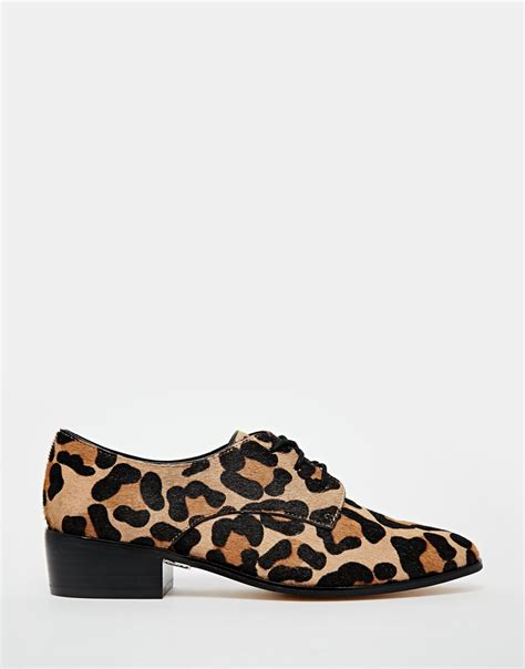 animal print shoes lyst dune loris animal print pony effect brogue flat shoes