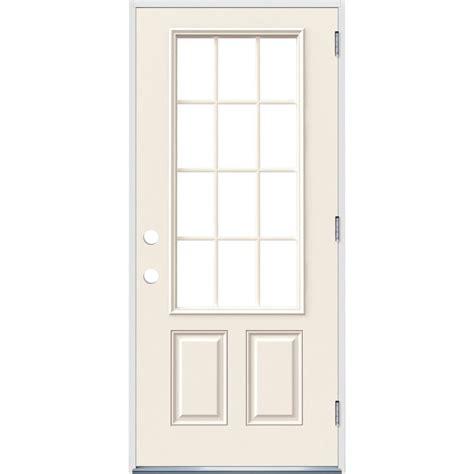 12 Lite Exterior Door Jeld Wen 36 In X 80 In Primed Left Outswing 12 Lite Clear Steel Prehung Front Door