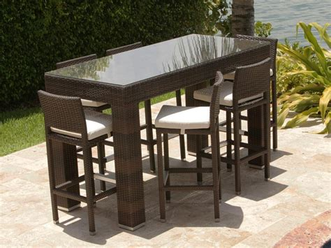 outdoor pub table sets source outdoor 7 wicker bar height set wicker com