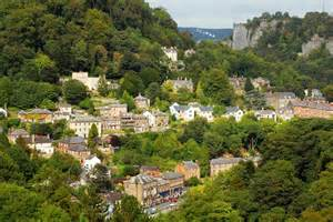 View over asbourne in derbyshire with matlock bath cable cars in