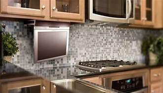 hide your kitchen tv flipdown tvs and mirror tv options