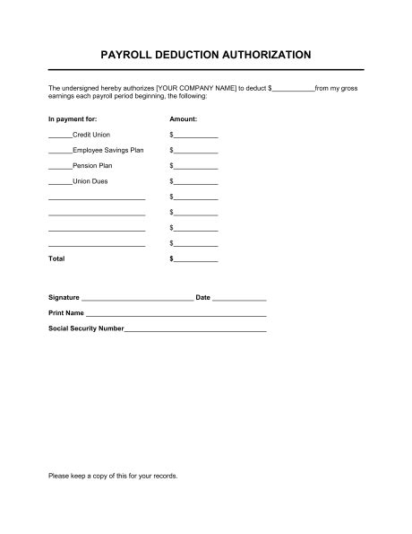 Agreement Letter For Deduction From Salary Payroll Deduction Authorization Template Sle Form Biztree