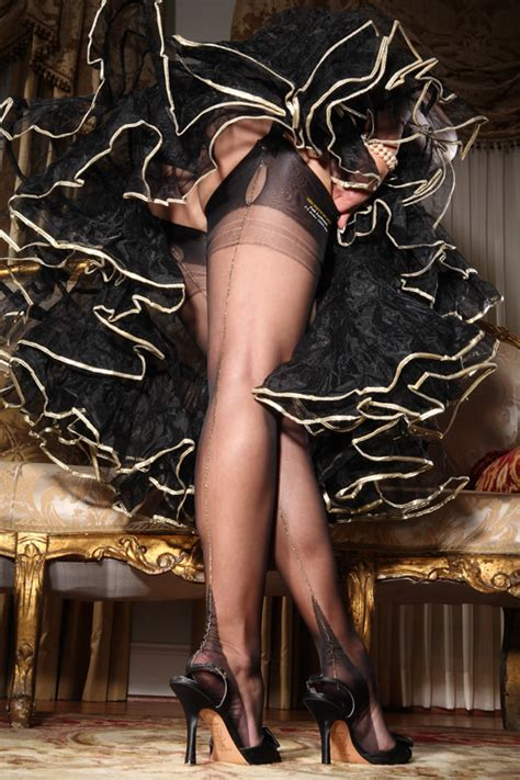 by secret in lace stockings fully fashioned french heel metallic seamed full fashion