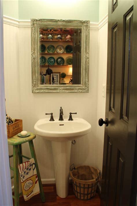 farm style powder room shabby chic style bathroom
