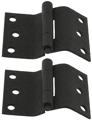 Pair of Forged Iron Offset Mortise Shutter Hinges   4 inch