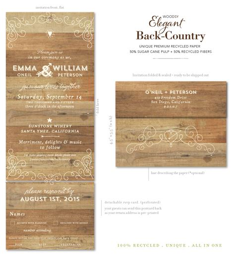 country elegance wedding invitations send n sealed woodsy wedding invitations back