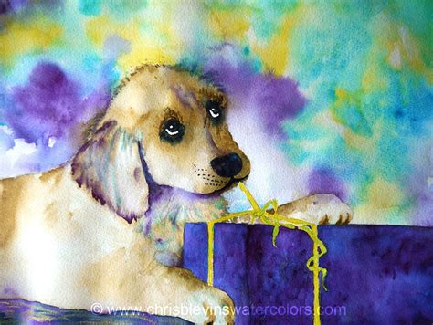 puppy present puppy present chris blevins watercolors artist in richland pasco kennewick wa