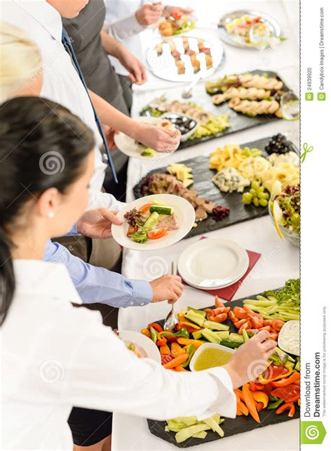 Tray For Coffee Table Catering Food Buffet At Business Meeting Stock Photo