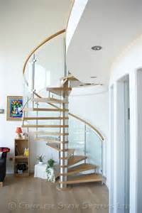 Handrail Clearance Spiral Staircase Ayrshire With Curved Glass Panels