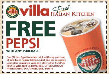 Italian Kitchen Printable Coupon by Villa Fresh Italian Kitchen Free Pepsi With Purchase