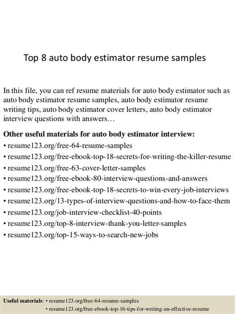 Collision Estimator Sle Resume by Top 8 Auto Estimator Resume Sles