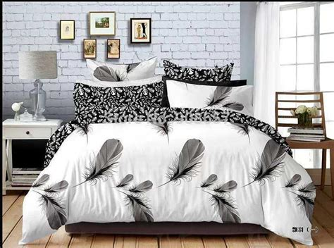 M S Duvet Cover 2018 Black White Feather Print Bedding Set Boys Gentleman