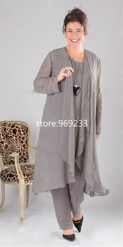plus size dressy pant suits for weddings plus size grey chiffon pant suits for women 2016 free