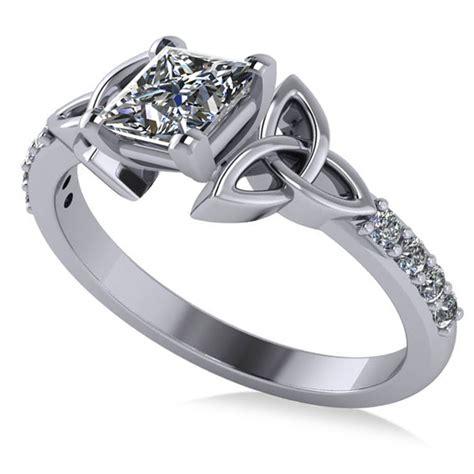 princess cut celtic knot engagement ring palladium