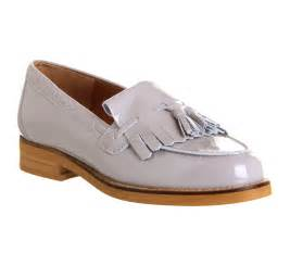 Office extravaganza loafer grey patent leather flats