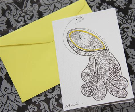 Original Gift Card - peacock gift card original drawing felt
