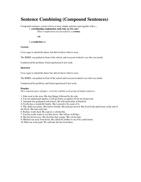 Sentence Combining Worksheet by 28 Combining Sentences Worksheets 15 Best Images Of