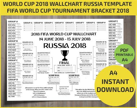 world cup schedule wallchart fifa 2018 world cup russia pdf printable bracket