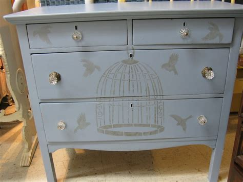 painted dresser with stenciled bird cage beautiful