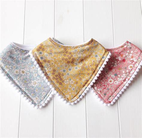 Handmade Bandana Bibs - handmade ditsy floral baby bandana dribble bibs with