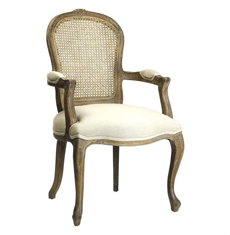 Lyon French Country Cane Back Linen Dining Arm Chair Arm Dining Chairs