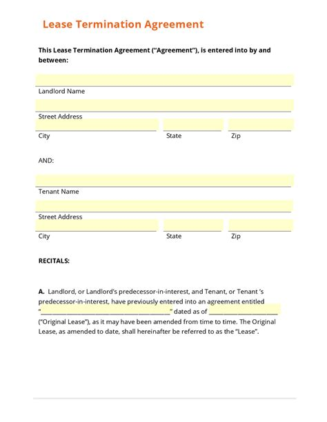 Lease Termination Agreement Exle Business Form Template Gallery