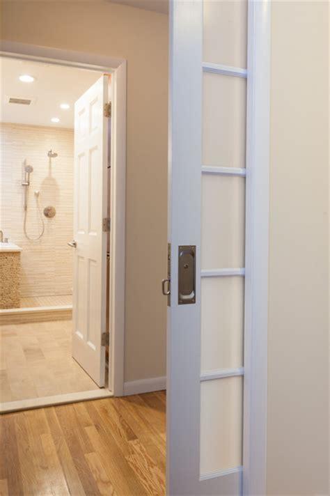 Bedroom Pocket Doors Frosted Glass Pocket Door Leads To This Zen Sanctuary
