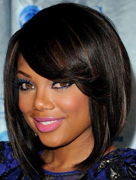 angled bob hairstyles for black women long bangs and inverted bob beauty love pinterest