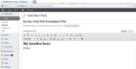 Wordpress Tutorial Embed Video | a tutorial on how to embed html in wordpress wphub
