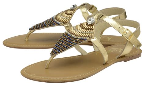 ravel leather flat toe post sandals gold beaded