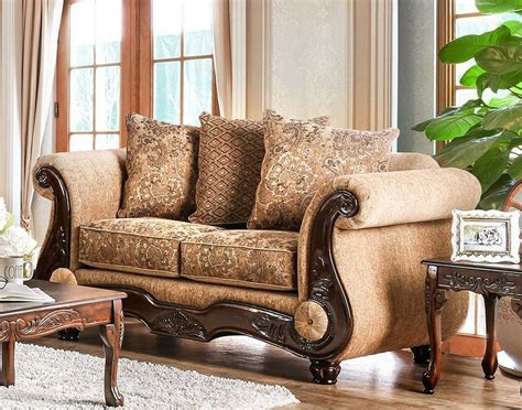 gold loveseat nicanor tan and gold loveseat from furniture of america
