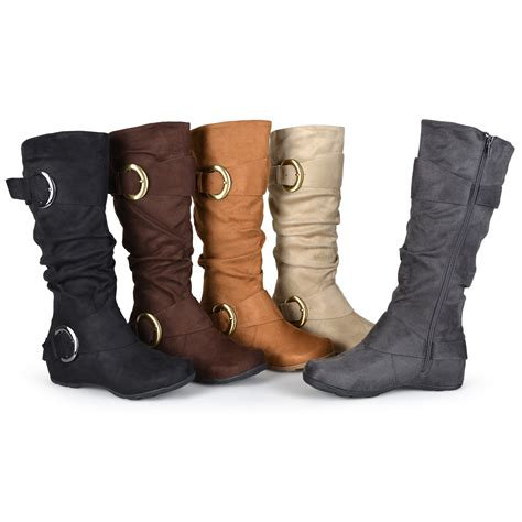 brinley co womens buckle accent slouchy mid calf boots ebay