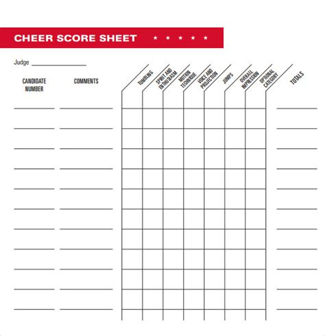 Gymnastics Judges Score Card Template by 5 Sle Cheerleading Tryout Score Sheets Sle Templates