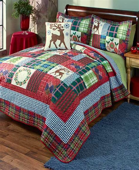 deer wreath patchwork king size quilt