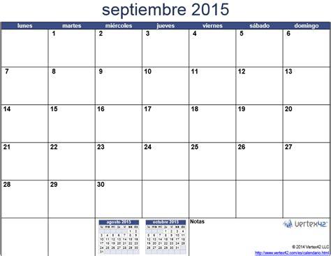 Calendario De Septiembre 2015 Calendario 2015 Mes Por Mes Para Imprimir Universo Guia