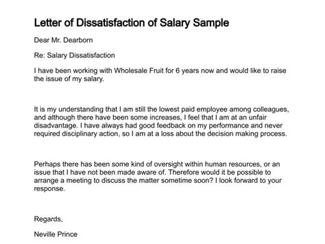 Performance Appraisal Dissatisfaction Letter Letter Of Dissatisfaction
