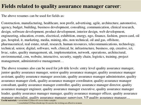 quality assurance engineer cover letter top 5 quality assurance manager cover letter sles