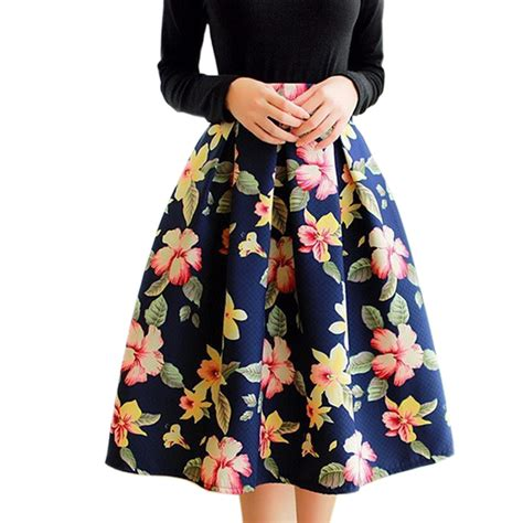 pattern of umbrella skirt high waist floral print midi skirt women elastic vintage