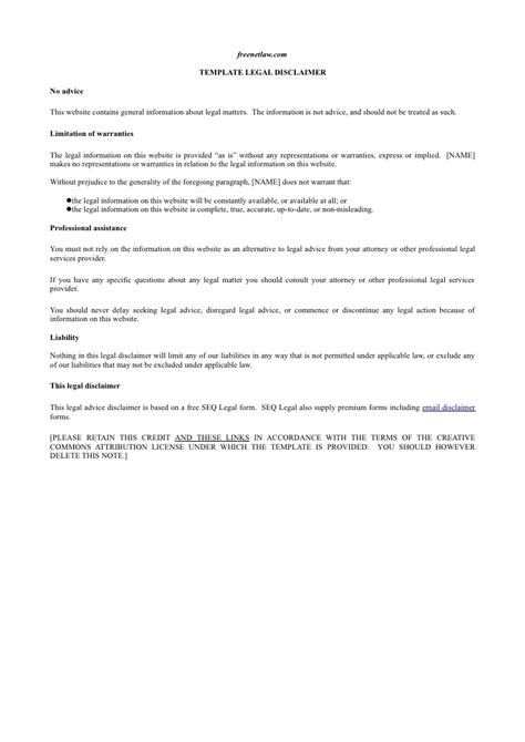 click to download our legal disclaimer template