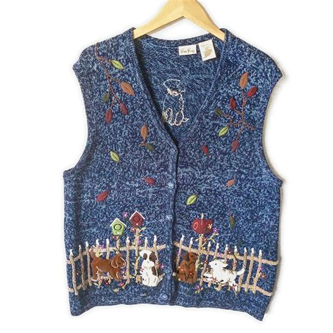 puppy in vest puppies in fall leaves tacky sweater vest the sweater shop