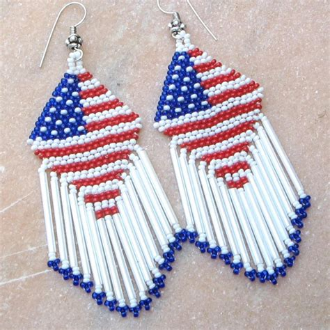 patriotic colors american patriotic colors blue white seed bead earrings