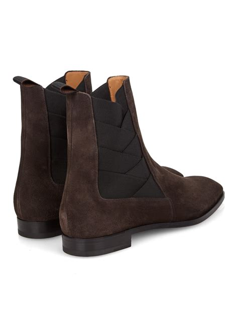 louboutin boots for christian louboutin brian suede ankle boots in brown for