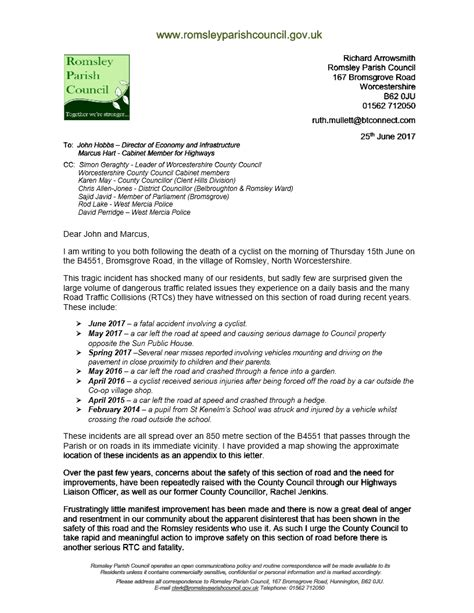 Official Letter On Road Safety letter to county council regarding road safety issues romsley parish council