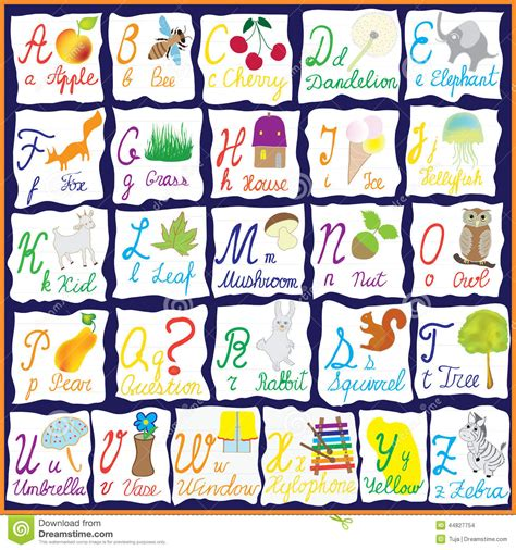 Lettering Notebook S M rainbow alphabet with pictures stock vector